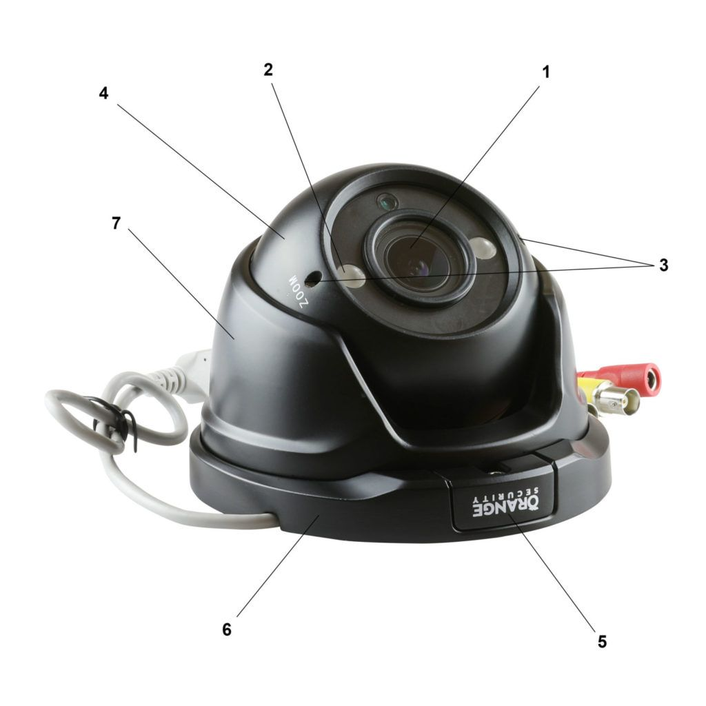 Parts of an Open Dome Turret Camera