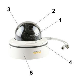 Parts of a Vandal Dome Camera